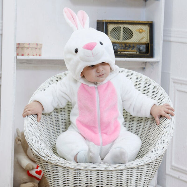Baby Rompers Cartoon Animal White Rabbit