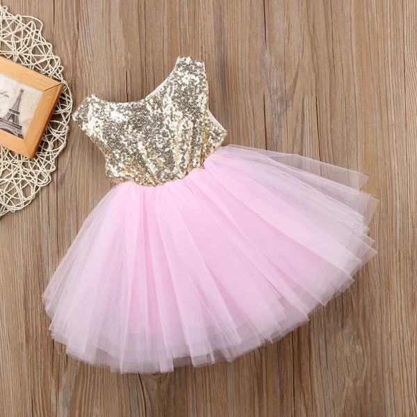 Princess Costumes For Kids Wedding Dress Sleeveless Sequins Party Birthday Baptism Dress For Girl Summer First Birthday Dress