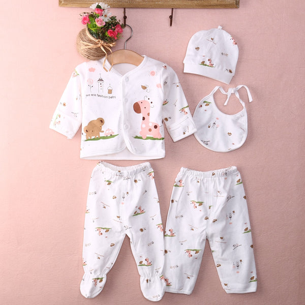 Newborn Baby Boy Clothes Underwear Animal Print Shirt and Pants 2PCS Boys Girls Cotton Soft 0-3M
