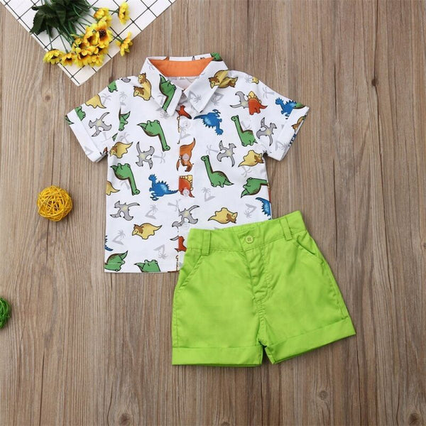 First Birthday Outfit Boy Set Cartoon Dinosaur Tops Shirt + Shorts Baby Boy Going Home Outfit