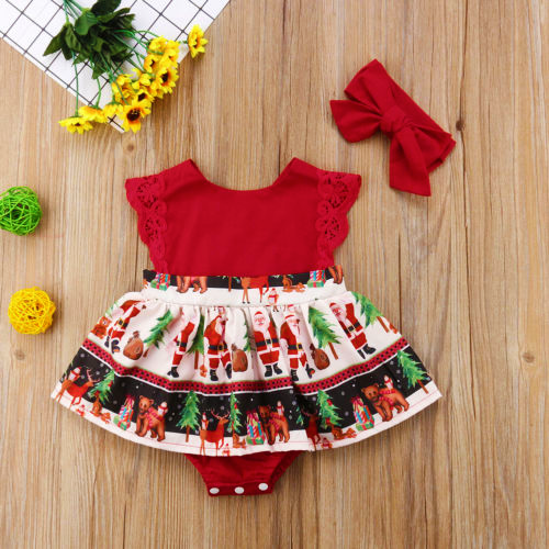 Baby Christmas Dress Headband + Dress Red
