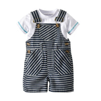 Baby Boy Clothes Gentleman White Rompers + Cap + Bib Short Stripped Clothing Set Baby Suit