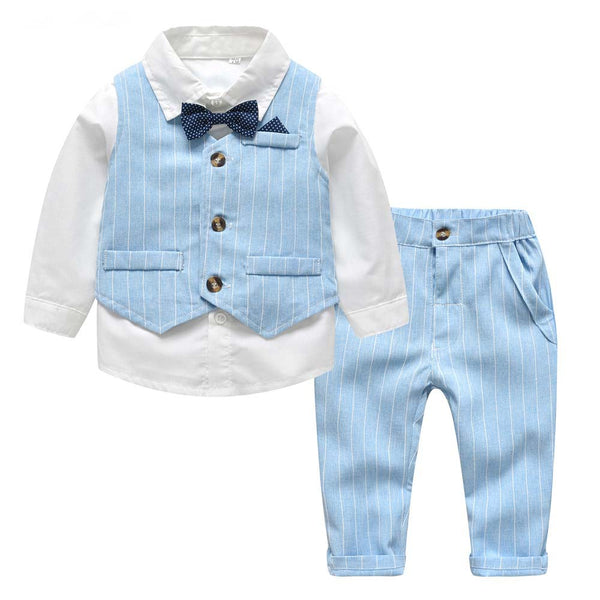 Baby Boy Outfits White Shirt with Bow Tie+Striped Vest+Trousers Baby Boy First Birthday Outfit