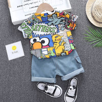 Baby Boy Outfits Short-sleeved Top + Denim Shorts Costume For Kids