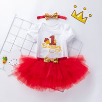 3 Pcs Baby Girls Romper Set Jumpsuit Tutu Skirt Headband First Birthday Outfit Girl