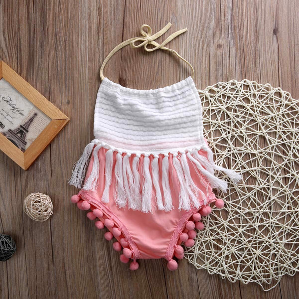 Pajama Romper Sleeveless Tassels Strap Romper Cotton Baby Girl Rompers