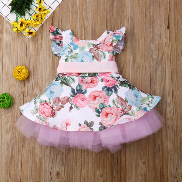 First Birthday Outfit Baby Girl Dresses Flower Lace
