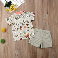 First Birthday Outfit Boy Set Short Sleeve Shirts + Pants Baby Boy Going Home Outfit