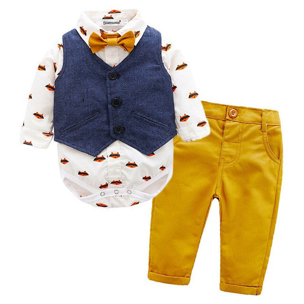 Baby Boy Clothes Sets Gentleman Suits Rompers+Jeans 2 Pcs Long Sleeve First Birthday Outfit Boy