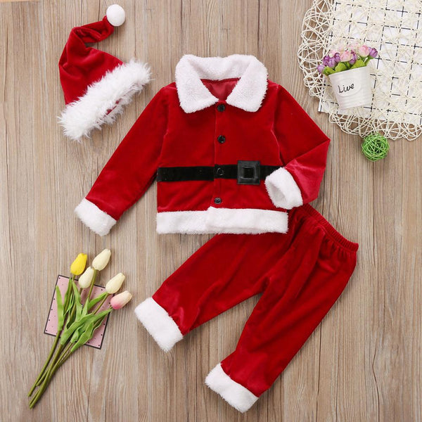 Kid Baby Christmas Costume New Years Santa Claus Suit Christmas Clothes Tops+Pant 2pcs