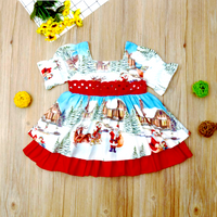 2019 Christmas Princess Dress Cute Toddler Baby Girl Dress Cartoon Printed Bow Tie Belt Ruffled Sweet Baby Birthday Dress