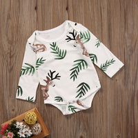 Baby Girl Rompers Newborn Costumes Leaf Deer Print Rompers Jumpsuit Costume
