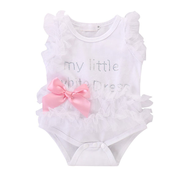 Newborn Girl Outfits Toddler Top Bow-knot Plaids White Romper