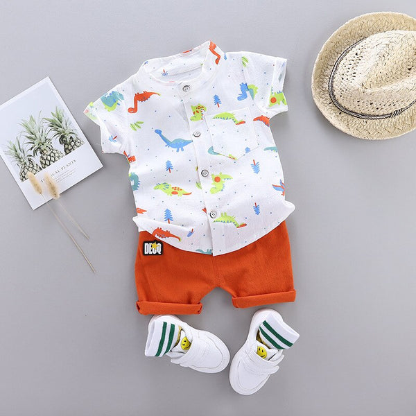 First Birthday Outfit Boy New Cartoon Dinosaur Print Short Sleeve Shirt + Pants Cute Baby Boy Clothes