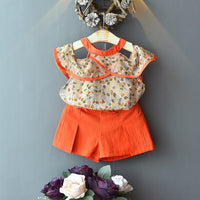 Baby Suit Set Strapless Shoulder T-Shirt + Shorts Baby Girl Coming Home Outfit