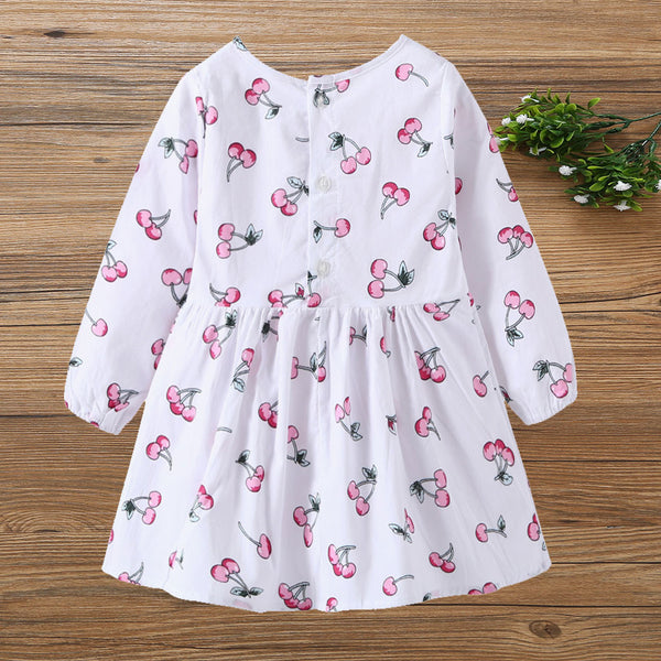 Princess Dresses For Toddlers Long Sleeve Cartoon Fruit Printed Baby Girl Dresses
