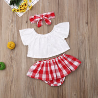 Baby Girl Coming Home Outfit Set White Off Shoulder Shirts + Red Plaid Skirts + Headband Baby Costumes For Girl