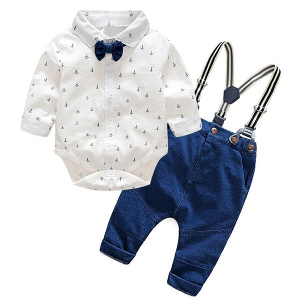 1st Birthday Outfit Boy Sets Gentleman Suits Rompers+Jeans 2 Pcs Long Sleeve Baby Boy Clothes