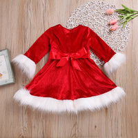 Baby Christmas Dress Red Dress Princess Velvet Plush