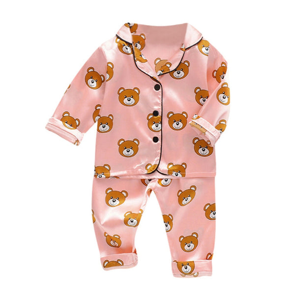 Baby Girl Outfits Long Sleeve Cartoon Bear Tops and Pants Pajamas Sleepwear Coming Home Outfit For Baby Girl