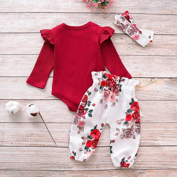 Baby Girl Rompers Bodysuit+Floral Pants+Headband Baby Girl Jumpsuit