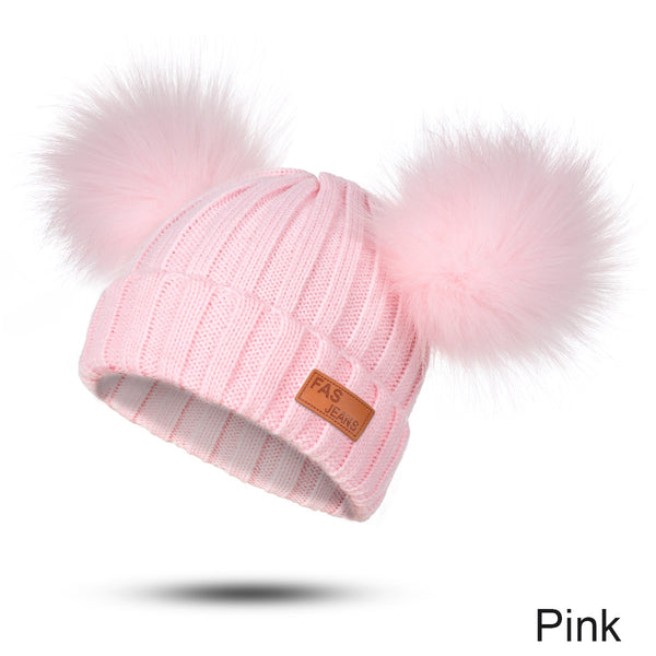 Baby Beanie Knitted Fur Ball Autumn Winter Warm Baby Girl Hats
