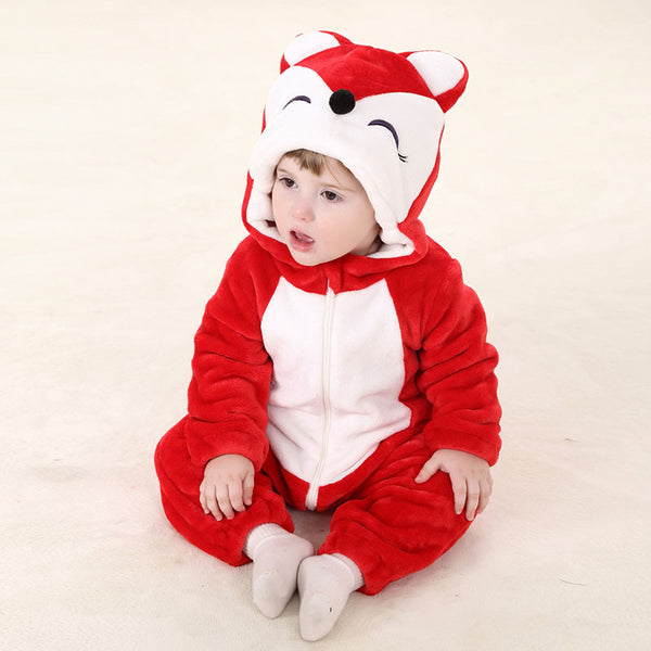 Baby Rompers Cartoon Animal Fox Red