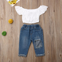 Baby Girl Fall Outfits Summer Clothing Set Lace Bow Off Shoulder Tops+Ripped Denim Jeans Pants Baby Girl Clothes