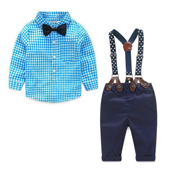 Baby Boy Clothes Sets Autumn Gentleman Suit Sets 2Pcs T-Shirt+Suspender Pants First Birthday Outfit Boy