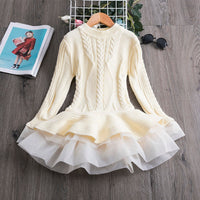 Winter Dresses For Girls Full Sleeve Knitted Sweater Pleated Dress Winter Formal Dresses