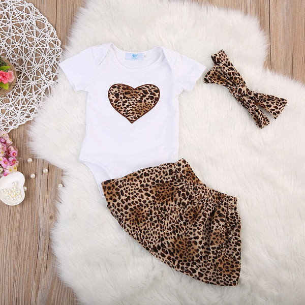 First Birthday Outfit Girl Sets Baby Leopard Romper+Tutu Skirt+Headband Baby Dress