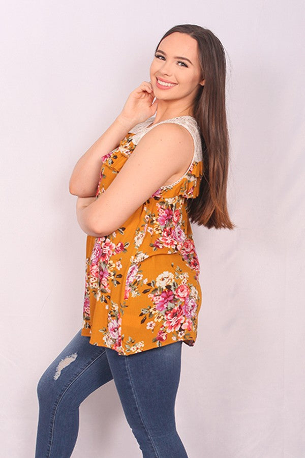 sleeveless floral printed top with lace neck