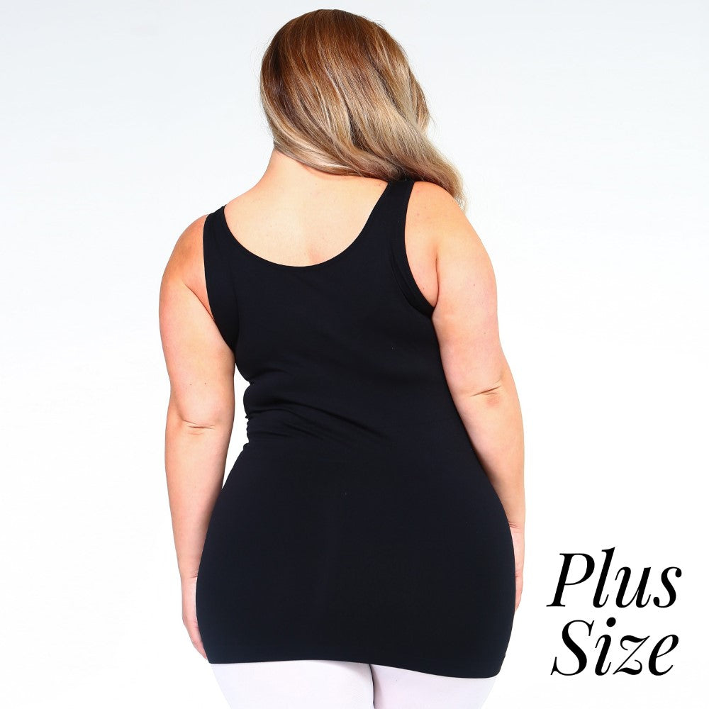 Women's Plus solid color seamless tank top