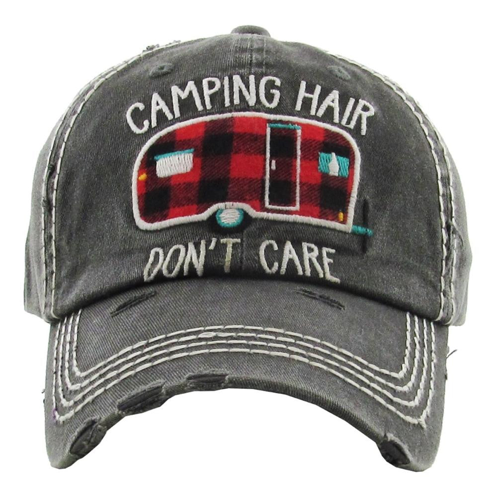 Camping Hair Distressed Hat