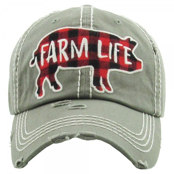 Farm Life Distressed Hat