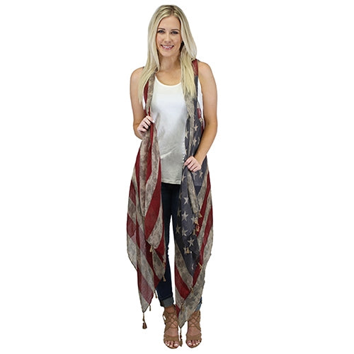 Vintage American Flag Vest With Tassel