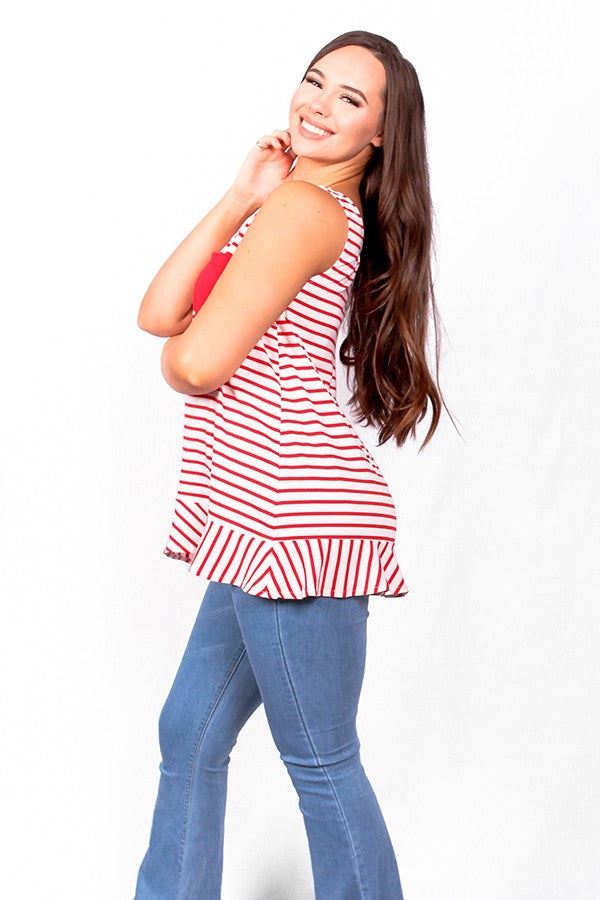 Red striped tank top w front pocket