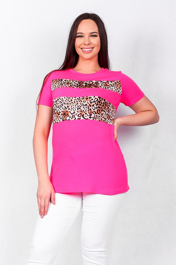 Hot pink leopard printed color block top