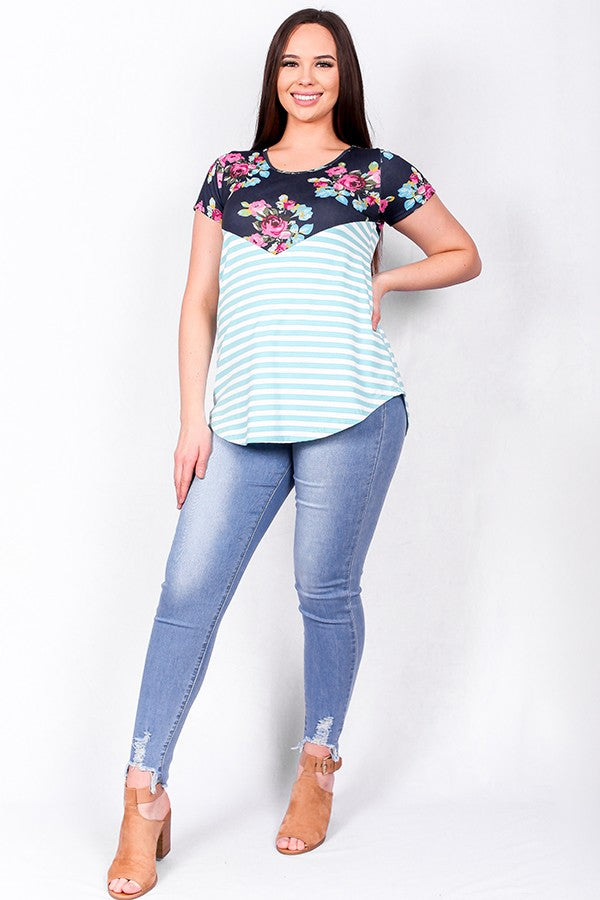 Striped/floral color block short sleeve top
