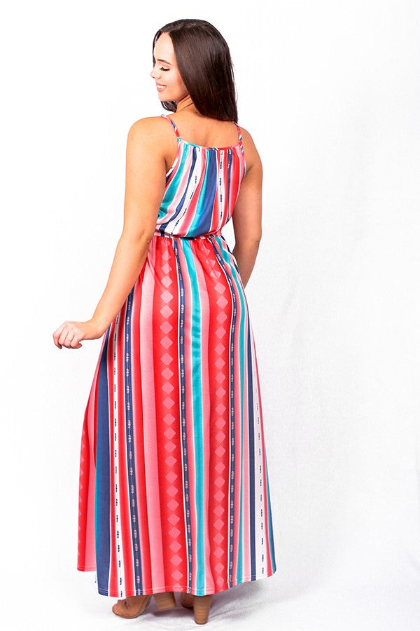 Multi Color Spaghetti Strap Maxi Dress