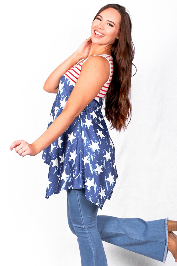 America flag printed tank top
