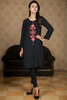 Black Midi Embroidered Kurta