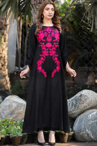 Self Embossed Black Pink Omera Maxi