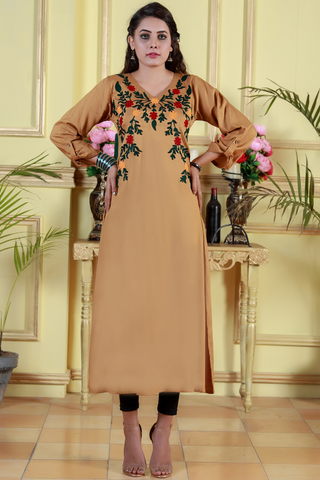 SALE Beige Maxi Kurta with Aari Work