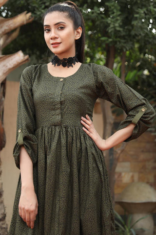 SALE Military Green Linen Leopard Tiered Maxi