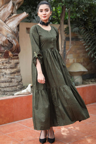 Military Green Linen Leopard Tiered Maxi