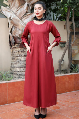 Maroon Double Pocket Linen Maxi