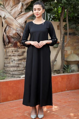 Black Double Pocket Linen Maxi