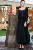 Three Piece: Black Linen Tilla Embroidered Star Kurta with Cotton Printed Scarf