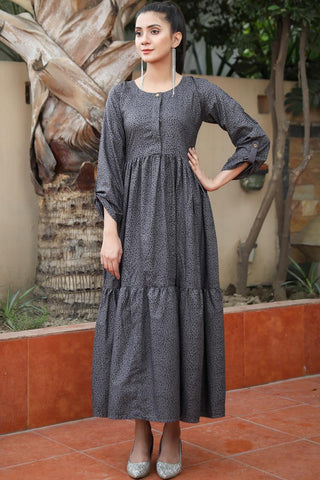 Grey Linen Leopard Tiered Maxi